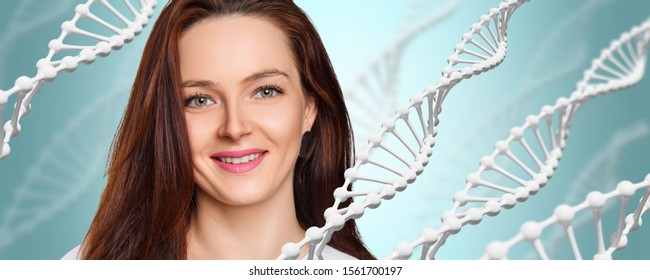 White DNA stems and beautiful young woman over blue background. Science of beauty concept