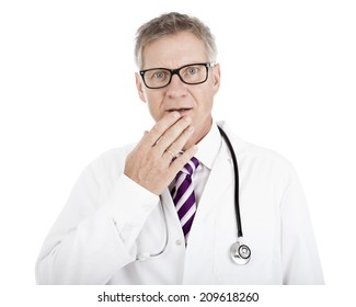 White Doctor in Glasses with Stethoscope on Shoulders Touching his Lip While in Doubt, Isolated on White