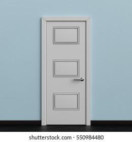 White Door 3D illustration, 3D rendering