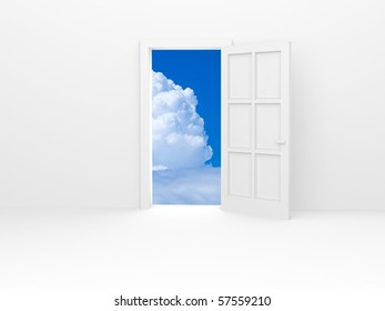 White door and white fluffy cloud on blue sky.
