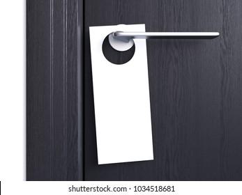White door hanger tag on silver handle. 3d rendering