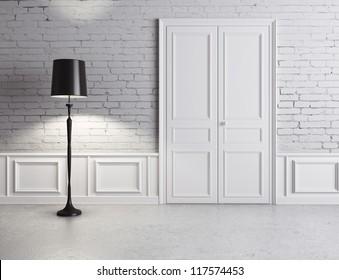 white door and lamp, luxury interior
