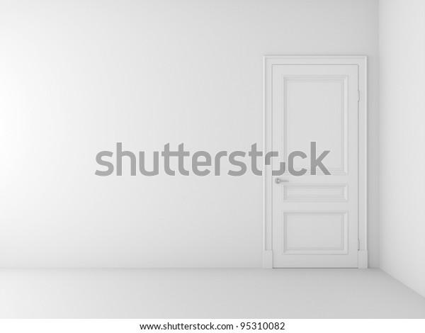 white door in white room