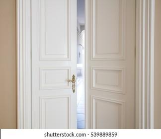 white doors open
