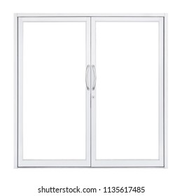 White double glass doors with steel handle isolated on white background, modern front window interior for home and office design