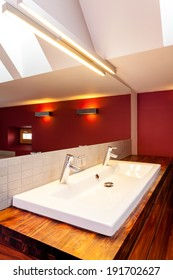 White double sink in modern bathroom, vertical