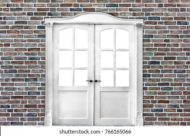 white double-leafed door of classical design in  old brick wall in grunge style