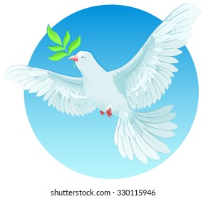 White dove holding green twig