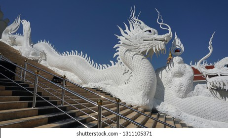 White Dragon Statue at a temple of Thailand