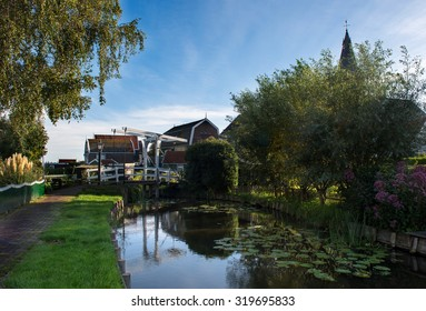 White drawbridge in the idyllic village of Marken