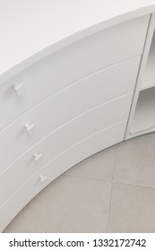 white drawer worktable in office