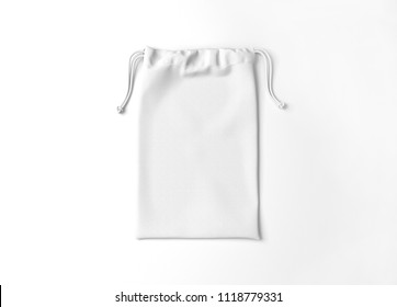 White drawstring bag on white background. Fabric cotton small bag. Isolated pouch.