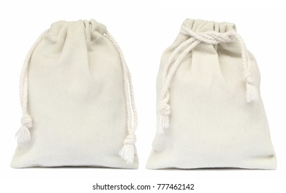 White drawstring bag packaging isolated on white background.
