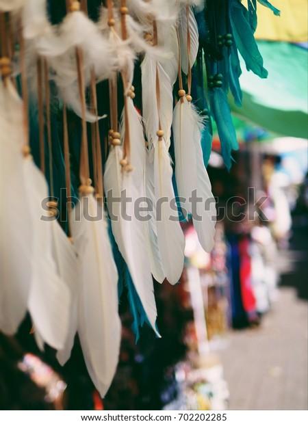 white dreamcatchers, Bali souvenir, Balinese market.