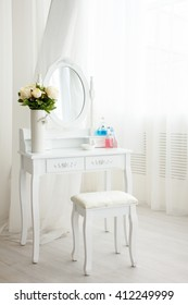 white dressing table in bathroom