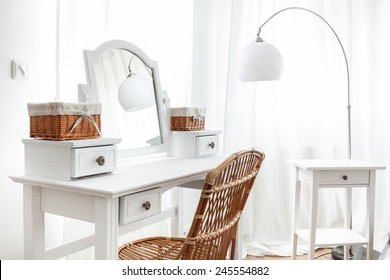 White dressing table with wicker elements, horizontal