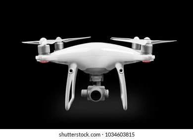 the white drone isolated on a black background