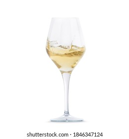 White dry wine glass isolated on white