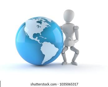 White dummy with world globe isolated on white background. 3d illustration