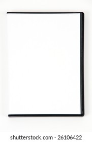 A white DVD case on a white background