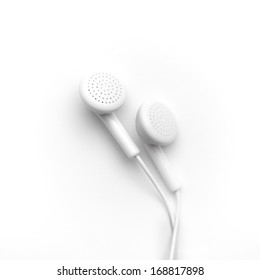White earbuds isolated on white background w/ clipping path