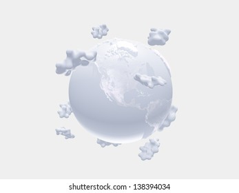 White earth and clouds on white
