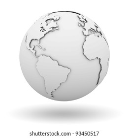 White earth globe isolated on white background with shadow