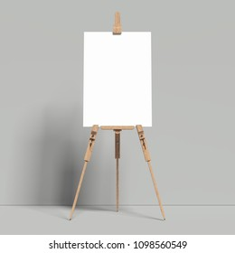 White easel stands next to bright grey wall, 3d rendering