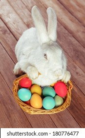 White Easter rabbit sits with basket of colored eggs on wooden table