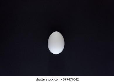 White egg on black background. Design, visual art, minimalism. Top view