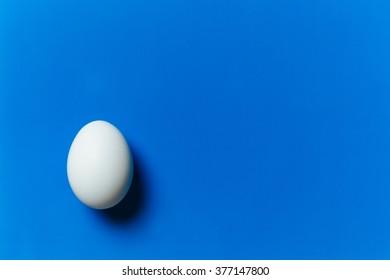 White egg on the blue background. Design, visual art, minimalism