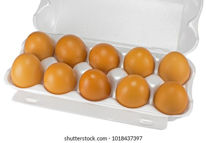 White eggs in the box on white background