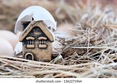 White eggshell with a Golden toy house inside. Toy house in straw. Souvenir shop in a broken egg. Light background. The concept of the birth of a mortgage or home loan.