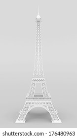 White Eiffel Tower on a gray background