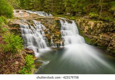 White Elbe waterfall in spring, Krkonose mountains (Giant mountains), Town Spindleruv Mlyn, Czech Republic