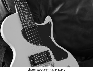 White electric guitar detail