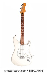 White electric guitar isolated on white background.