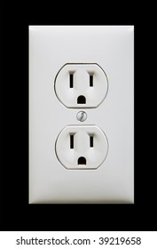 white electric outlet isolated against black background