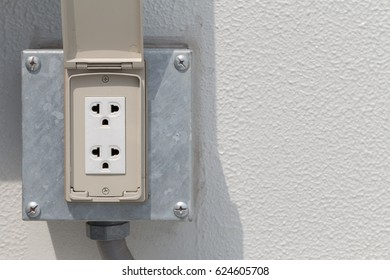 White Electrical Outlet Plug Housing Waterproof Stock Photo Edit