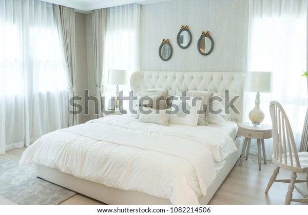 White Elegance English Style Bedroom Side Stock Photo Edit Now