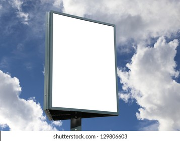 White empty billboard on cloudy sky, for your advertisement and design.