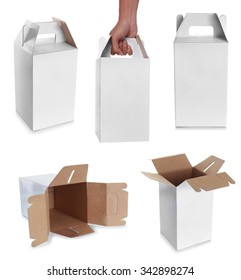 white empty box with handle isolated over a white background
