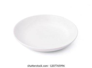 White empty ceramic plate isolated on white background with clipping path