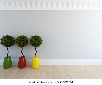 white empty classic room. Living room interior. Scandinavian interior. 3d illustration