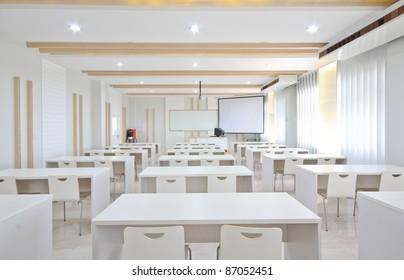 white empty classroom.