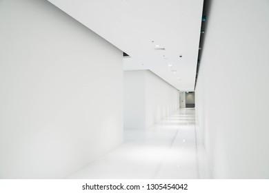 white empty corridor interiorcontemporary open space design