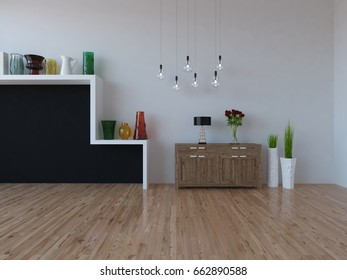 white empty interior with a black wall and decor . 3d illustration
