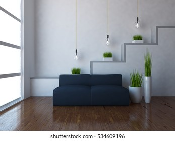 white empty interior with a blue sofa and vases. scandinavian interior. 3d illustration