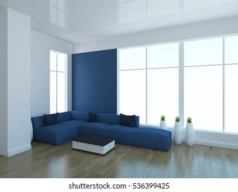 white empty interior with a blue sofa, large window and vases. scandinavian interior. 3d illustration