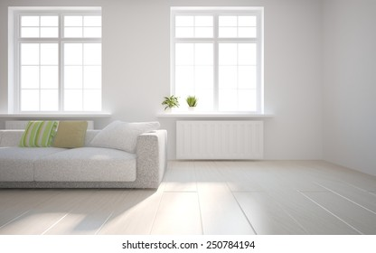 white empty interior concept with flower on a window-3D rendering